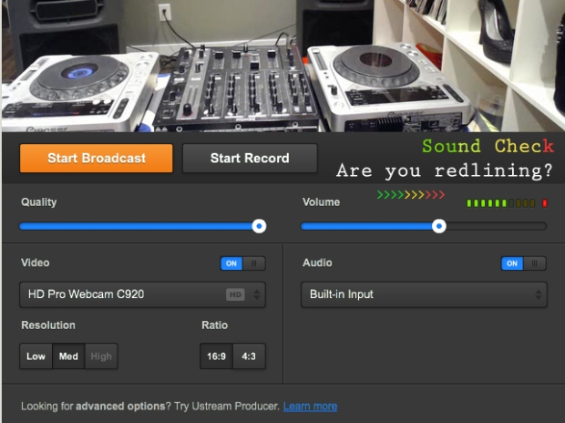 Sound check soundcard Ustream